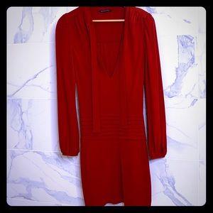 Black Halo Long Sleeve, Deep VNeck Red Dress